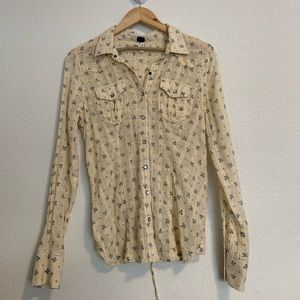 Free People Western Pearl Button Up Size Small